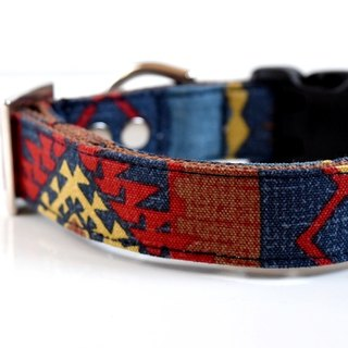 Southwestern Dog Collar - Navy, red, brown, yellow