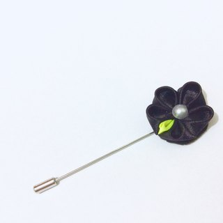 Kanzashi black yellow ribbon flower brooch