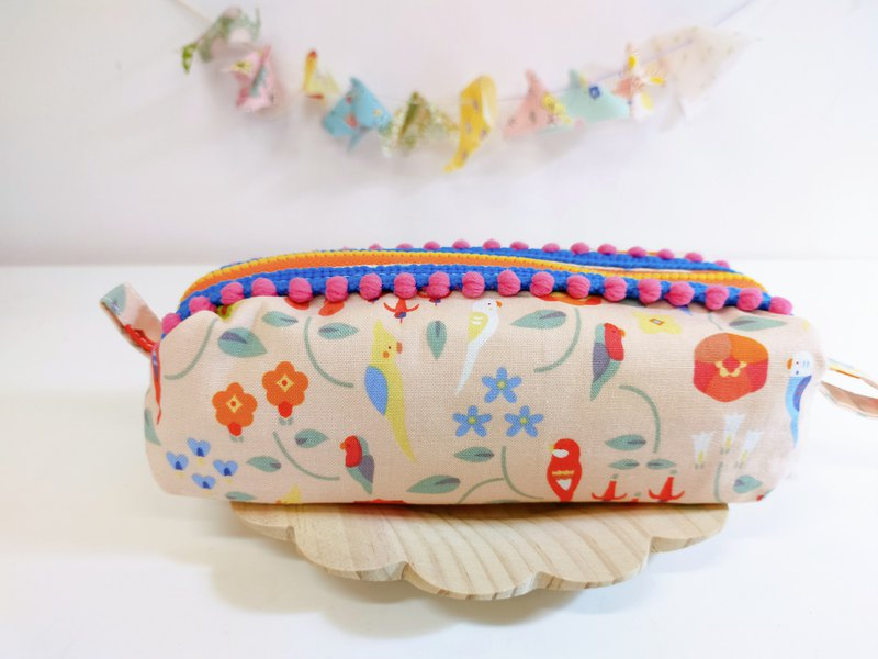 Small bird and flower fat bag cosmetic bag storage bag pencil bag