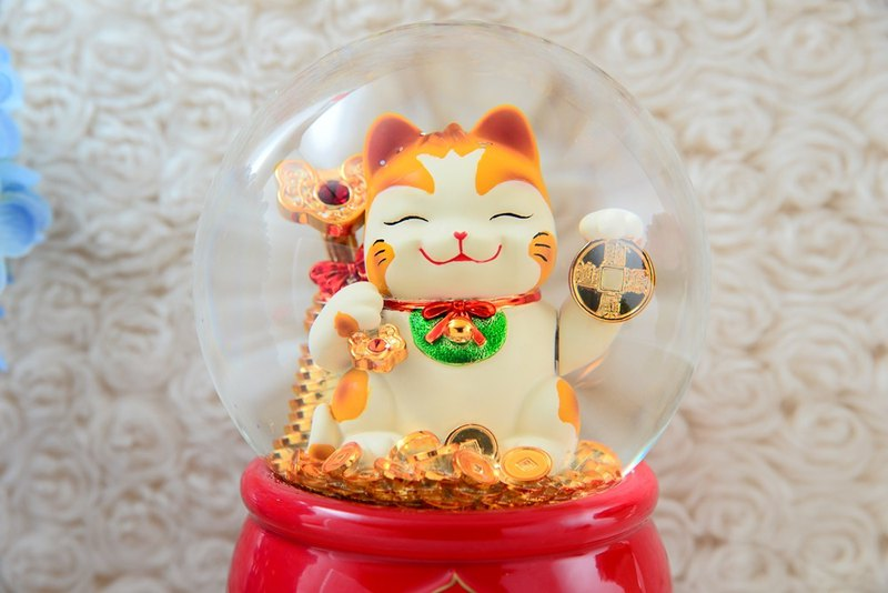 Lucky cat crystal ball music box new year congratulations new year gift opening gift birthday gift