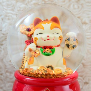 Lucky cat crystal ball music box New Year congratulation New Year gift shop gift birthday gift