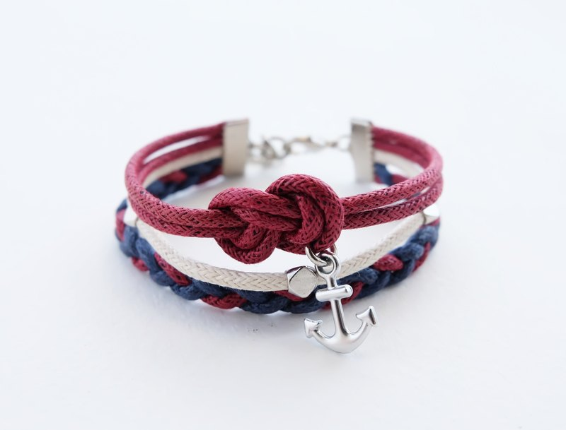 Red white blue triple layers cord infinity bracelet with anchor charm
