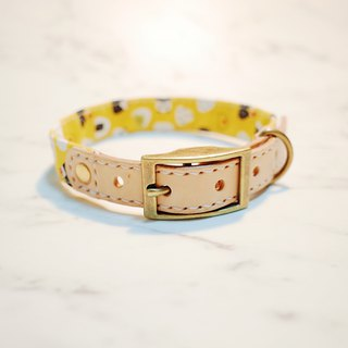 Dog M collar yellow triangle royal rice ball sushi with bells can add tag