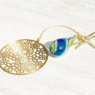 Valentine's Day gift Mother's Day gift Birthday gift / Botanical / French Metal texture Glass ball Bookmark and writing room - Forest series Round flower + Blue green Gradient color Blowing glass + Dragonfly
