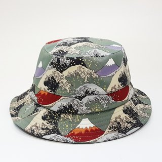 English Disc Gentleman Hat Ukiyoe Mt. Fuji Mix Wave (Seabed Green) #情人节#