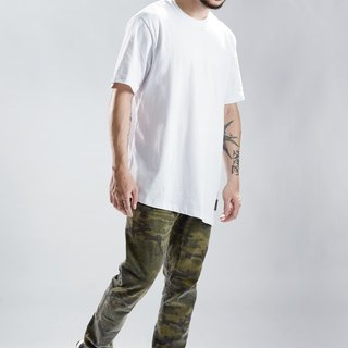 HWPD│ oblique asymmetrical hem Long T-Shirt white (refer to Kanye West / Yeezy / Justin Bieber)