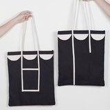 Tote bag semicircle patchwork style black color made from canvas fabric