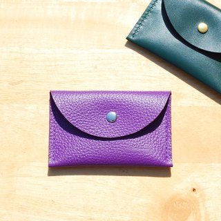 Handy business card holder / purse - leather hand-stitched circle (purple)