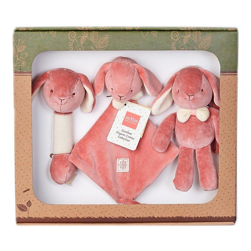 有機棉新生彌月安撫禮盒組 安撫巾+吉拿棒+娃娃 (miYim邦妮兔兔)