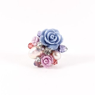 Small garden hand-ring (violet line), designer models, low-key Elegant Flower Crystal Ring