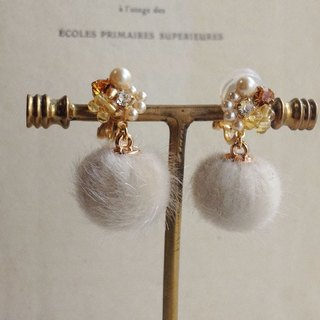 16kgp citrine and vintage Swarovski bijou fake fur earrings耳夾