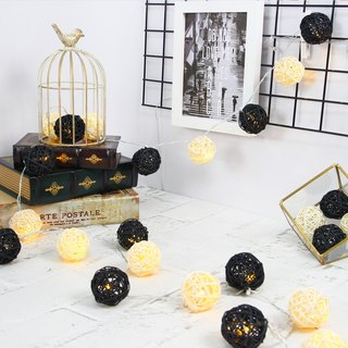 "HomePlus LED Atmosphere Rattan Ball Lights - Black ""Plug"" 3m long"