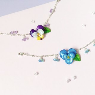 *Haku‧Neko*painted pansy flower with leaves crystal bracelet <Zibai yellow / blue two-color option>
