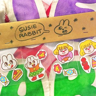 The sticker of a rabbit that loves to eat