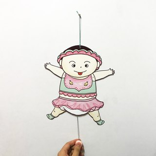 Baby Girl Born, paper puppet card