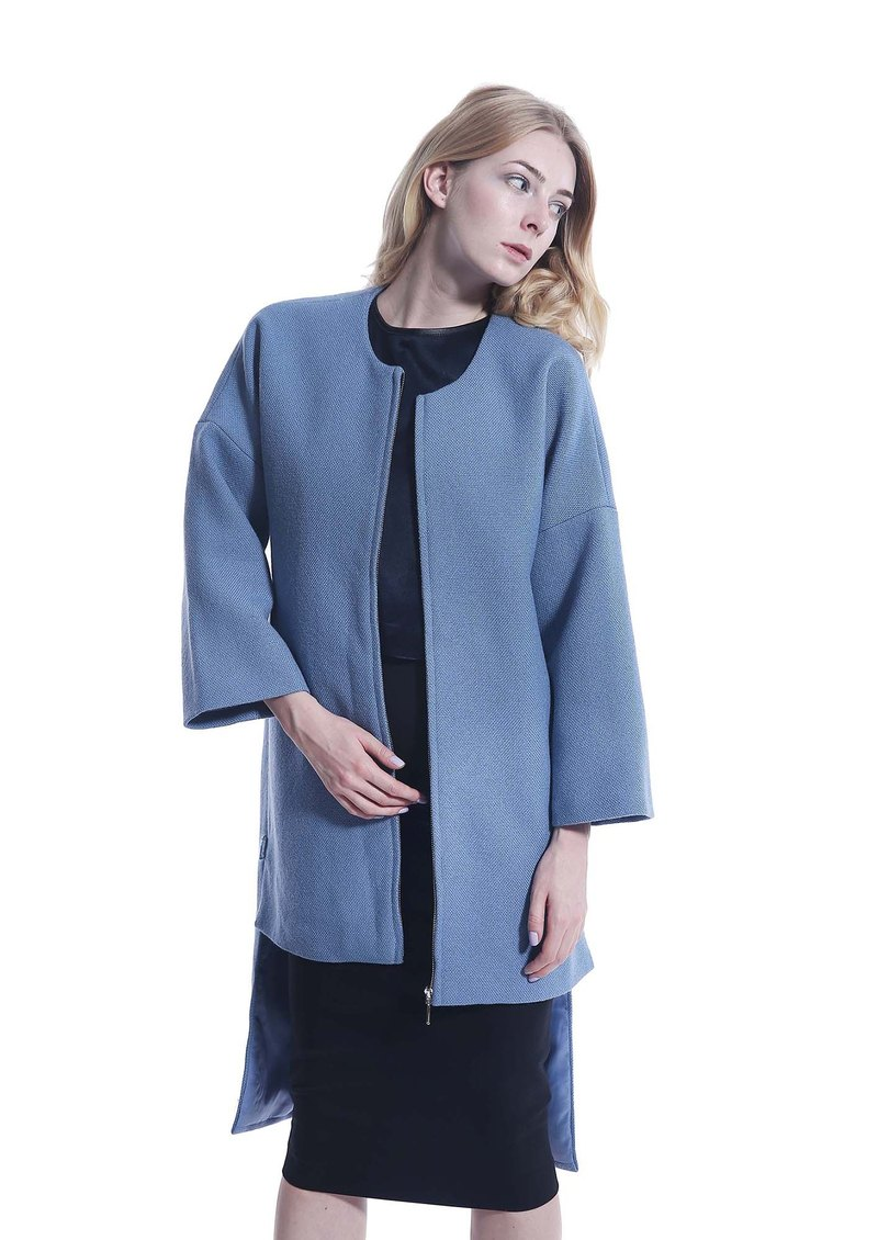 Elegant Blue linen Cotton Long Coat 【Winter Coat】【Christmas Gift】Warm Long Coat