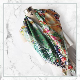 Cozy Cottage Scarf - (White) ฺPeacock Lover Scarf