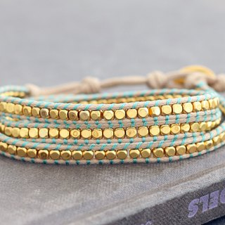 Gold Beaded Woven Bracelets Wrap Summer Nude Hippy
