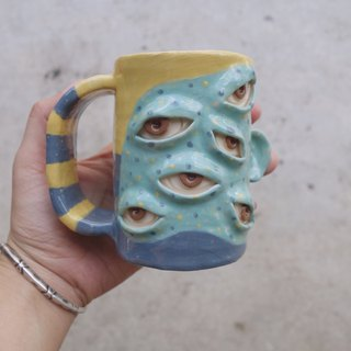 Big Handmade ceramic mug with many eye in blue and yellow :)