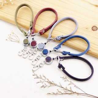 There is a style. Leather telescopic buckle lanyard - identification card / key ring / leisure card