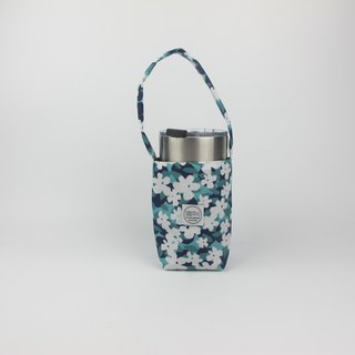 Green white flower - green cup bag / beverage bag