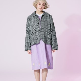 : EMPHASIZE petal collar plaid wool coat flocking little bit - a small point