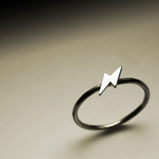 Small lightning silver ring
