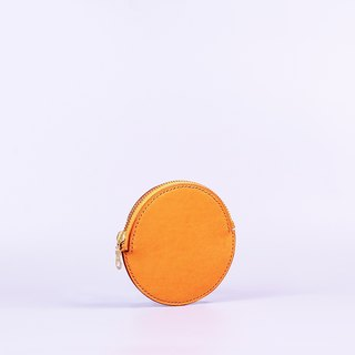 Hand-sewn circular zip purse _ brown / Round Leather Coin Case_Tan