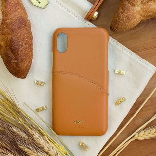 Can be lettering iPhone X 5.8 吋 leather anti-splash phone case - honey brown