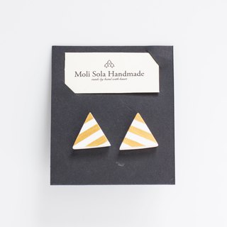 Hand made triangular clay stud earrings gold stripes