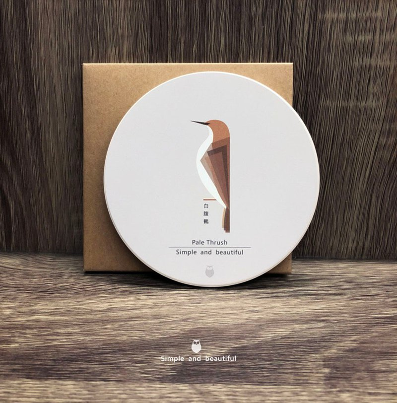 白腹鶇-陶瓷吸水杯墊