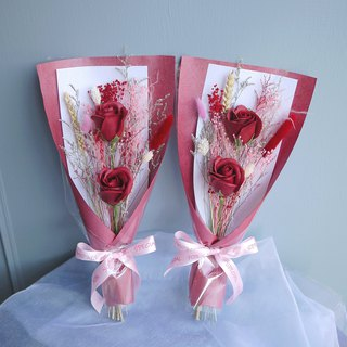 Equinox time - wine red rose soap flower hand holding dry bouquet set of two