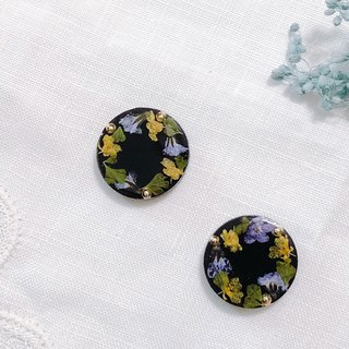 Season flower series-Winter garden hand made dry flower embossed ear ear clip/ear clip