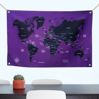 Customized World Map 幔 psychedelic purple rain