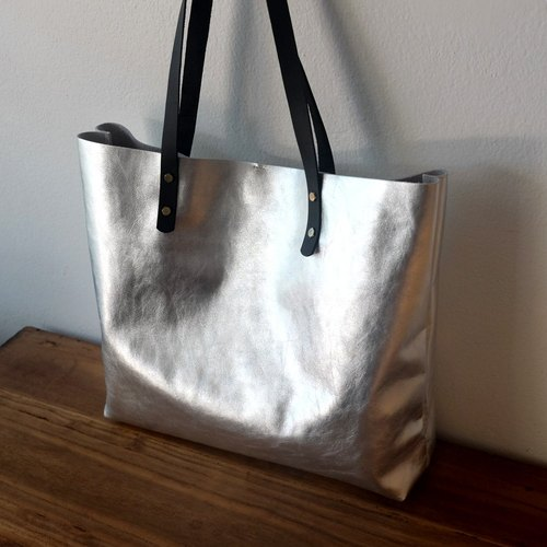 Oversized Silver Leather Tote / Large Silver Leather Bag / Shiny Weekend Bag