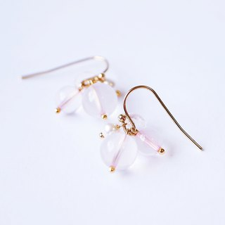 Powdered star hibiscus crystal powder crystal fat pink round earrings clear forest sweet natural stone