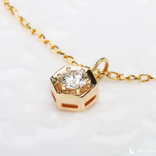 Handmade 14k Gold x Natural Gem Corundum [Light Jewelry - Hexagonal Necklace] Story