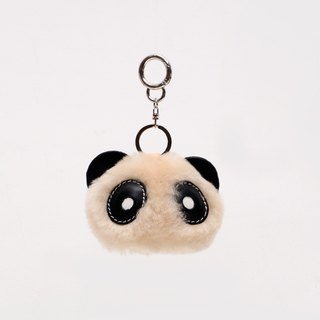 JulyChagall wool fur with tanned cowhide handmade plush panda bag pendant keychain Christmas gift