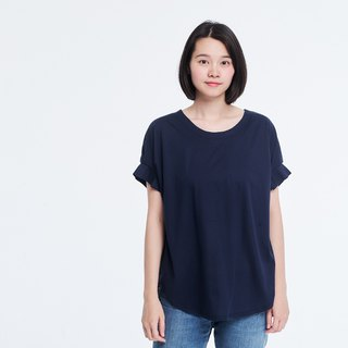 Mercerized Cotton Fabric Gathering Short Sleeves T-shirt Top Navy