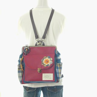 3 WAY Right zipper compact backpack Full set check Flower red × blue green