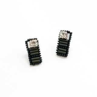 Rectangle crystal Embroidery Earrings / Jasper