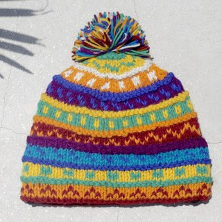Christmas gift limited edition hand-woven wool hat / knitted wool cap / inner bristles hand-woven cap / hat (made in nepal) - Rainbow Spain interesting color mixing gradient ethnic stripes
