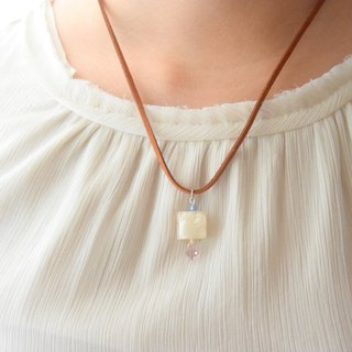 Romantic White Cube with Swarovski Pendant Handmade Necklace