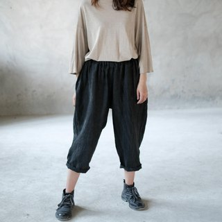 Heather gray plant dyed Hana elastic pants natural hemp blue dyed elastic waist vest nine points old pants