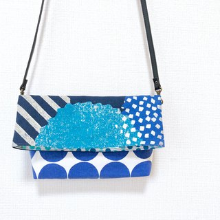 Long belt anti-folding cross-body bag - stitching Japanese imported flower cloth - blue round + Turkish blue