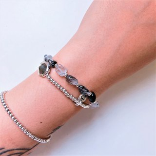 Double circle black crystal silver bead bracelet