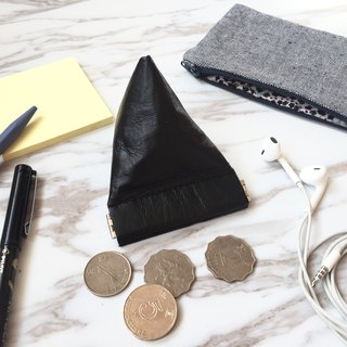 PY80-Black leather pyramid flex frame coin purse