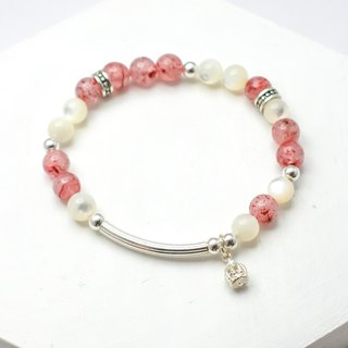 Love Strawberry Crystal Natural Stone Silver Bracelet│Pink Series 玥unicorn Strawberry Wafer Beads