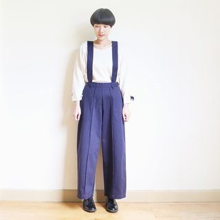 2WAY suspenders wide pants : navy