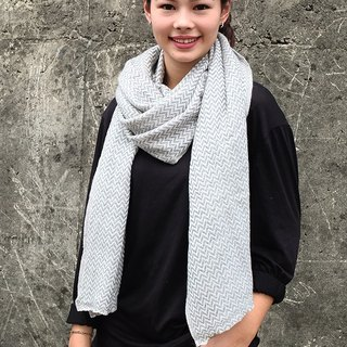 【Grooving the beats】Cashmere Stripes Shawl / Scarf / Stole Handmade from Nepal(Thick_V_Light Grey)